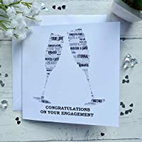 Personalised Champagne Glasses Engagement Card