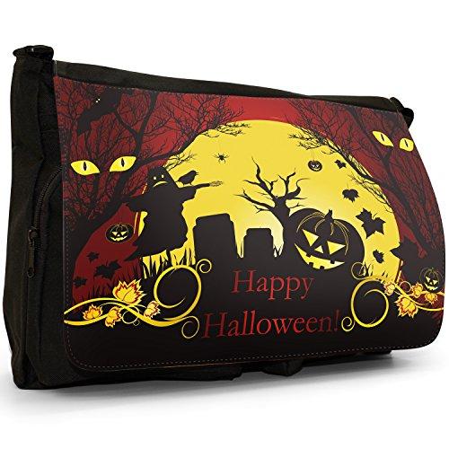 Fancy A Bag Borsa Messenger nero Moonlight Bats Halloween Pumpkin Bats Scarecrow