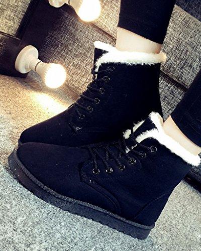 Minetom Donna Lace Up Pelliccia Neve Stivali Autunno Inverno Calzature Female Sneaker Moda Nero