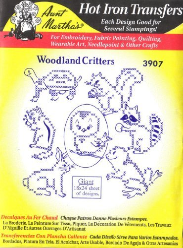 Woodland Critters Tante Martha 's Hot Eisen Kreuzstich Stickerei Transfer