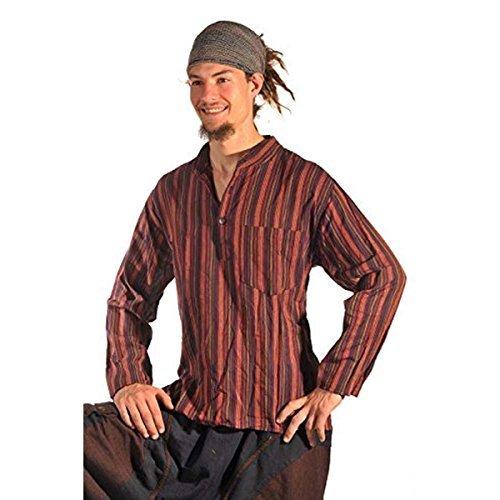Fischerhemd Hemd Pullover Shirt Freizeithemd Freizeitshirt Hippie Goa Psy Mittelalter Sweater Kurta (Rot, XL) (Gestreiften Kurta)