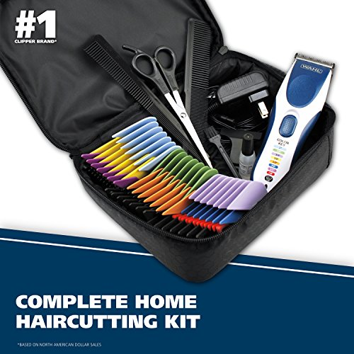 Wahl Clipper Color Pro Cordless Rechargeable Hair Clippers, Hair trimmers, 21 pieces Hair Cutting Kit, Color Coded guide combs For Men, Kids and Babies By The Brand used by Professionals