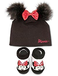 Disney Baby Minnie Mouse Cotton Hat and Terry Booties Gift Set, Black, Red, 0-12M