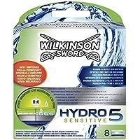 Wilkinson Sword Hydro 5 Sensitive - Cargador de 8 cuchillas de afeitar masculinas de cinco hojas Hydro 5 Sensitive con nuevo deposito de gel para pieles mas sensibles