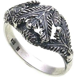 Anillo de plata 925(rama de abeto con piñas Caza joyas grandelschmuck