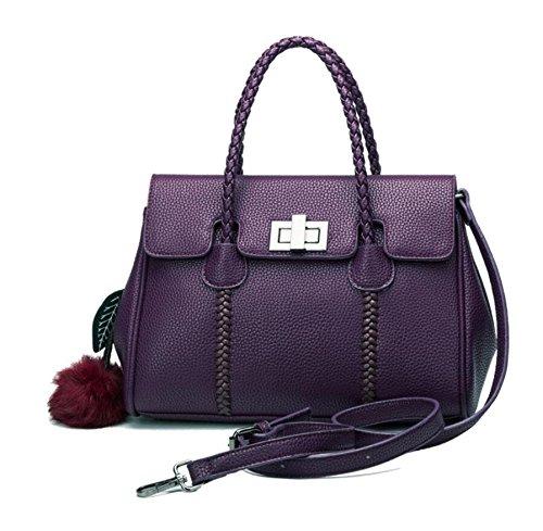 LF&F Backpack Luxus Leder Handtasche Schulter diagonal Damen-Tasche formale Erholung Party Hochzeit im Freien Büro Beruf Abend-Pack besondere Anlass Purple