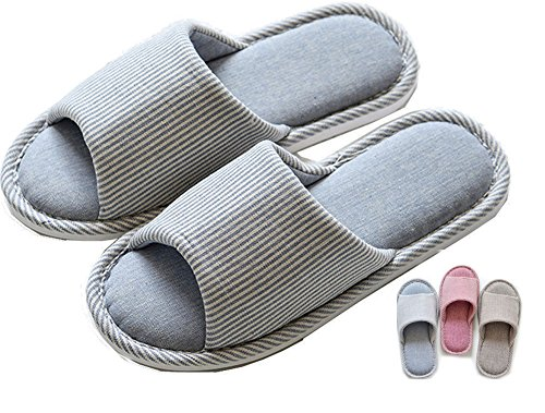 Zapatillas de estar por casa Mujer Fieltro Interior Antideslizante Verano Memoria Espuma Slippers Pantuflas Unisex Algodón Forro Natural,Striped Blue,37.5/38 EU,37/38 Manufacturer size