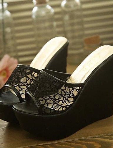 UWSZZ IL Sandali eleganti comfort Scarpe Donna-Sandali-Formale-Zeppe / Plateau / Aperta-Zeppa-Pizzo-Nero / Viola / Bianco Black