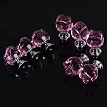 Revesun - Pomelli in cristallo trasparente a forma di rosa, per porte, armadietti, cassetti e guardaroba, credenze, 20 mm, confezione da 8, colore rosa