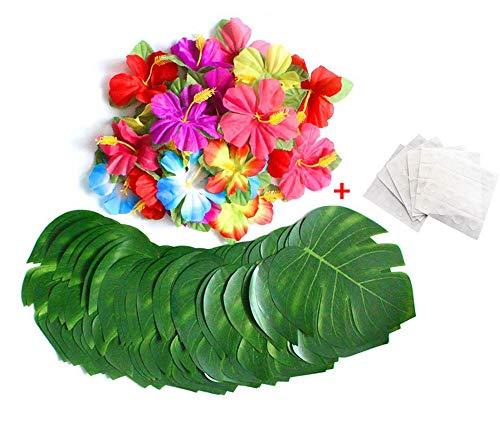 AOLVO künstlichen Palm Leaf Girlande, 60/64/88PCS Palm Leaf Party Supplies einschließlich kleinen Faux Fensterblätter Palmblatt, Hibiskus und Bonus Dot Klebstoffen für Hawaiian Luau Party Tischdekorationen, 60 Pcs, S+M+L