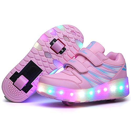FZUU 2017 Kinder LED Roller Skate Schuhe mit Rollen Mädchen Jungen Hellschwarz Rosa Kinderschuhe Jazzy Junior Sneakers mit Rad Rosa