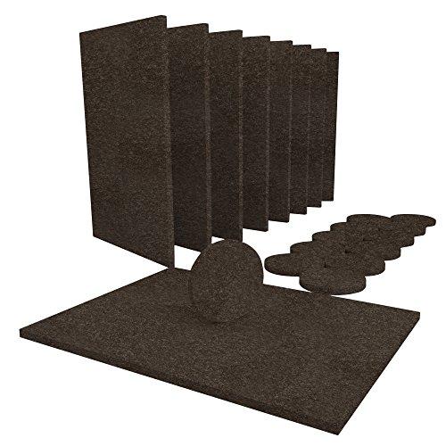 Möbel Pads 20Stück Filz braun Bundle–8groß 15x 11cm Möbel Filz Blatt & 12große 38mm (1½ Zoll) Runde Möbelgleiter Filz Schutz Pads Hartholz Böden zu schützen, Hartfußböden & Möbel. Premium Heavy Duty selbst Stick Pads kann einfach zugeschnitten werden Größen