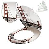 ECD Germany Premium Duroplast Toilettendeckel mit Soft-Close Absenkautomatik Golden Gate Motiv