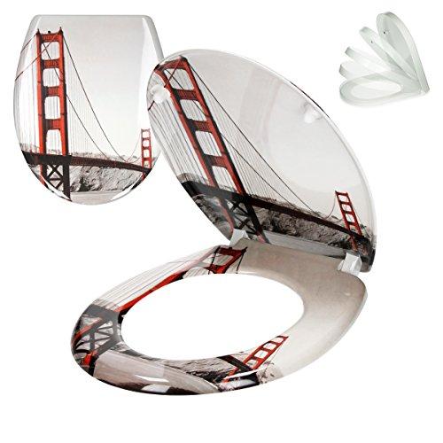 ECD Germany Asiento de Inodoro Golden Gate Premium Duroplast Tapa de Inodoro...