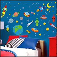 Outer Space Planets Rocket Ship Kids Children Room Wall Stickers Decal Wall Art 904