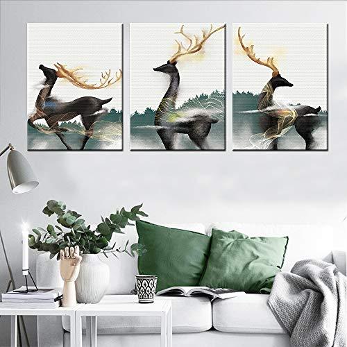 Cuerno Oro Elk Tríptico Pinturas óleo Sin Marco