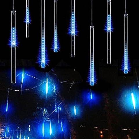 Imperméable à l'eau 30 CM 10 tubes 300 LED Meteor douche pluie lumière, goutte/glaçons neige tombant gouttes de pluie en cascade lumières pour noces de Noël arbre de décoration en plein air (30CM / 11.8Inch, Bleu)