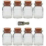 Viva Haushaltswaren - 8 x Gewürzglas 150 ml, Glasdose mit Korkverschluss als Gewürzdose & Vorratsdose für Gewürze, Salz etc. verwendbar (inkl. kleiner Holzschaufel 7,5 cm)
