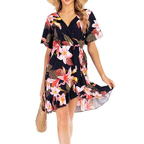 se Minikleid Damen,Reizvolle Frauen Strandkleid Abendkleid Kurze Ärmel Tief V-Ausschnitt Partykleid Blumenmuster Hochzeitskleid Freizeitkleidung ()