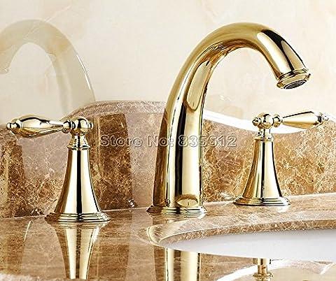 Luxe couleur or de salle de bain répandues en laiton lavabo robinet pour évier/Double Poignées Vessel Mitigeur pour évier robinets mélangeur 3trous, jaune,