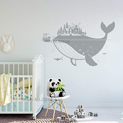 Ajcwhml Grande Balena Isola murales Carino Decorazione della casa Adesivi murali Arte Scuola Materna Decalcomania della Parete Staccabile Vinile Poster Marino 136 cm x 80 cm