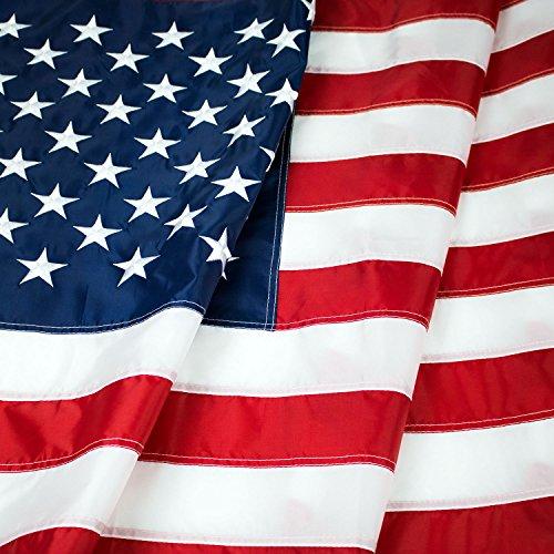 American Flagge: Top Qualität 4x 1,83m uns Hartschale genutzt Nylon W/Eingestickte Sterne & genäht Streifen–Deluxe Schnell trocknender, wetterbeständigem USA Flagge für Außen & Innen