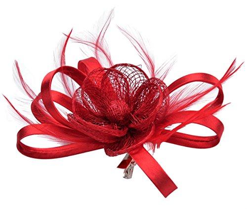 Kapmore Fascinator Pillbox di capelli del cappello del cocktail della clip Headwear di nozze per (Piccolo Cappello Pin)