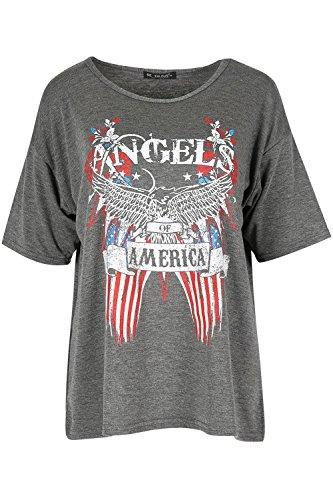 Damen Engel of America Weißkopfseeadler Bedruckt Damen Übergroßer Baggy-Stil T-Shirt Top Dunkelgrau