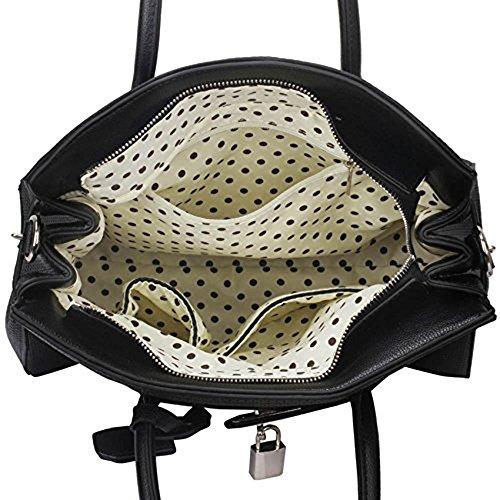 TrendStar Damen Entwerfer Imitat Leder Ebene Vorhängeschloss Für Leinentrage Schultern Taschen Handtaschen Schwarz