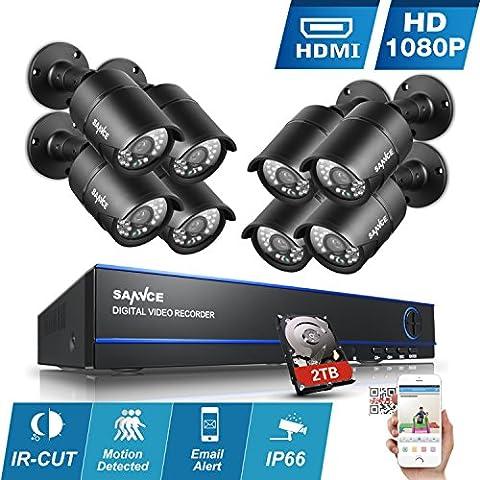 [1980*1080P HD] SANNCE Kit de 8 Cámaras de Vigilancia Seguridad (Onvif H.264 CCTV DVR P2P 8CH AHD 1080P y 8 Cámaras 1080P 2MP IP66 Impermeable, IR-Cut, Visión Nocturna Hasta 20M, Exterior y Interior, HDMI, 36 LEDs Seguridad Kit) - 2TB Disco Duro