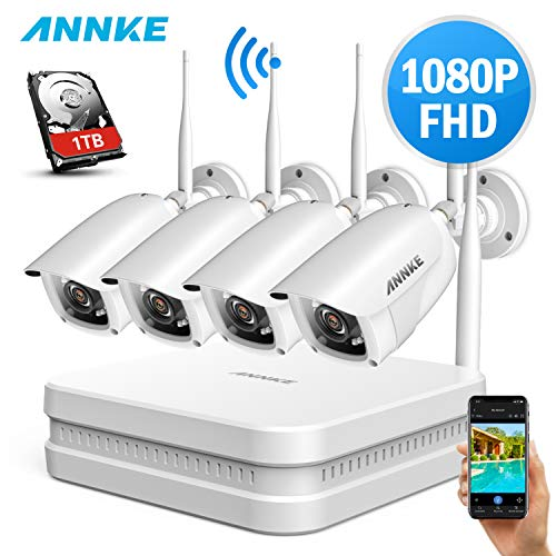 ANNKE 8CH 1080P WLAN Überwachungskamera Set mit 4X 2MP WiFi Wasserfeste Kamera und Wireless NVR 1TB HDD Überwachungssystem,30M IR Nachtsicht für Haus, Innen, Außen Sicherheit,Plug & Play System -