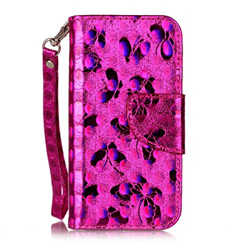 Nancen Compatible with Handyhülle iPhone 5 / 5S / SE (4 Zoll),Schmetterling Muster Flip Funktion Kartenfächer Magnet Etui iPhone 5 / 5S / SE (4 Zoll) (Unlocked I Phone 5s 32gb)