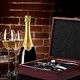 Wein Korkenzieher,Smaier Edelstahl-Rotwein-Flaschen-Öffner-Flügel Korkenzieher, Belüfter, Thermometer, Stopper und Zubehör-Set mit dunklem Kirschholz Case – 9 Stück - 6