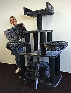 Kratzbaum grosse katzen stabil XXL Panther Blackline Dunkel Grau Katzenkratzbaum für schwere Katze hoch