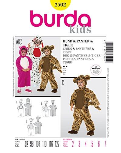 Burda 2502 Schnittmuster Kostüm Karneval Fasching Hund Panter Tiger (kids, Gr. 92 - 122) Level 2 (Kid Kostüme Tiger)