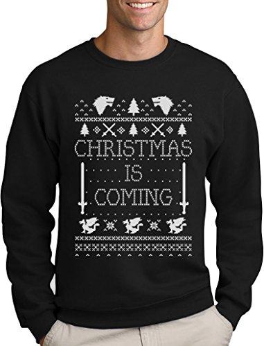- Weihnachtspullover Männer für GOT Fans Sweatshirt Large Schwarz (Ugly Christmas Sweater Ideen)