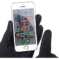Ducomi® WINDSTOPPER–Guantes táctiles de neopreno con cremallera y tecnología Touch Screen incorporada para smartphone y tabletas, negro, Large