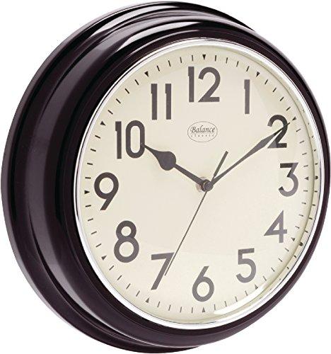 Analoge Retro Vintage Landhaus 32cm Wanduhr - Quarz - Designer Uhr rund Küche / Büro / Schlafzimmer etc- schwarz