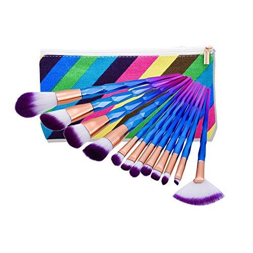 12 PCs Brosse Maquillage Fondation Brosse Poudre Anti-anneau Kit Brosses Avec Sac de Mode