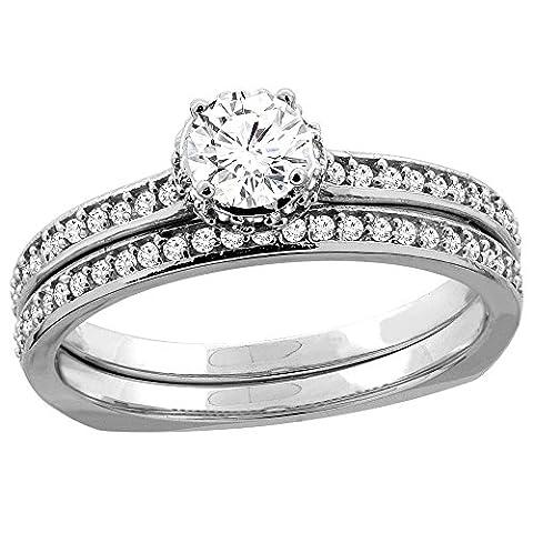 Revoni 14 Karat Weißgold 3-Stein Brillantschliff Ring Diamant mit Diamanten CW425D25370