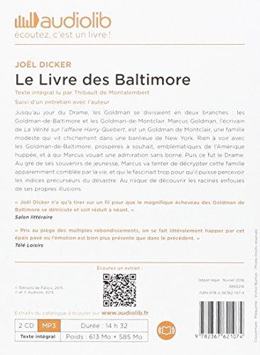 Le Livre des Baltimore: Livre audio 2 CD MP3 - Suivi d'un entretien avec l'auteur