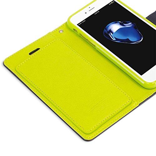iPhone 7 hülle Wecell Rich Diary Case PU Leder Handy Tasche mit praktischen Magnetverschluss Schutzhülle iPhone 7 Handyhülle hülle und Geldbörse 2 in 1 - Schwarz Blau