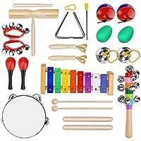 Strumenti Musicali per Bambini 23pcs Giocattolo in Legno Musica Strumenti Bambini Gioco Educativo Imparare Musica Gioco Testati Sicuri Yissvic