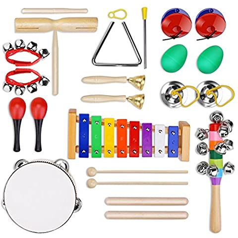 YISSVIC 12Pcs Instruments de Musique pour Enfants Set de xylophone Jouet de Percussion Ensemble de Clochettes et Tambour Maracas avec Sac de Transport