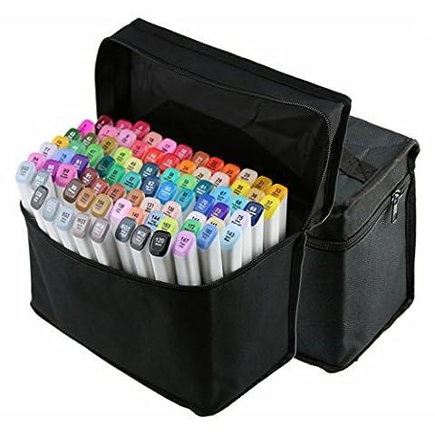 SALICO Artist 40 60 80 Twin Fibre Nibs Fine / Broad Dual Headed Marker Stifte Set für Animation Manga Design School Zeichnung Sketch Marker Pen Art Supplies (Weiß 40pcs)