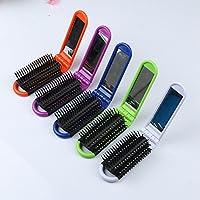 winwill 1pc portátil plegable Cepillo de pelo con espejo compacto Tamaño de bolsillo ...