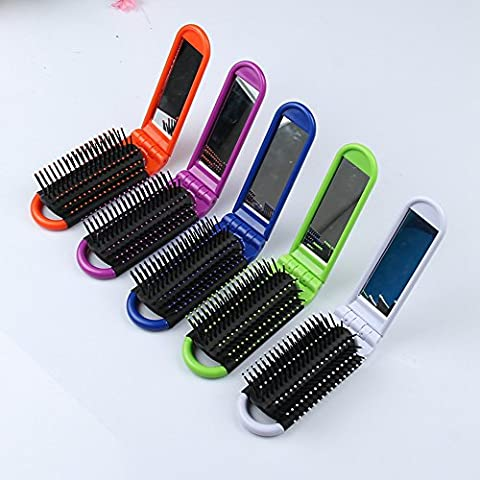 Winwill 1Pc Portable Folding Hair Brush With Mirror Compact Pocket Size Massage Comb