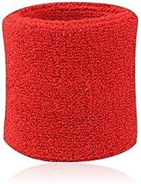 Hombres Mujeres Deportes Banda de sudor Tenis Squash Badminton tela de toalla muñeca bandas de sudor Baloncesto Gimnasio muñeca del Wraps rojo 8cm*7.5cm