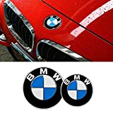 DigHealth 2 Stück Emblem Motorhaube oder Heckklappe Blau & Weiß Logo für BMW, 82mm und 74mm Haube Logo Vorne Hinten Motorhaube Kofferraum für BMW E36 E39 E46 E60 E70 F10 X5 X6