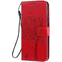 NEXCURIO Funda Huawei Honor 9X, Funda Piel Tipo Libro Carcasa Cartera Cuero Función de Soporte Magnética Cerrada para Huawei Honor 9X - NEKTU080726 Rojo